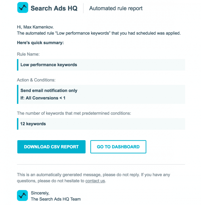 SearchAds automated Rule Report