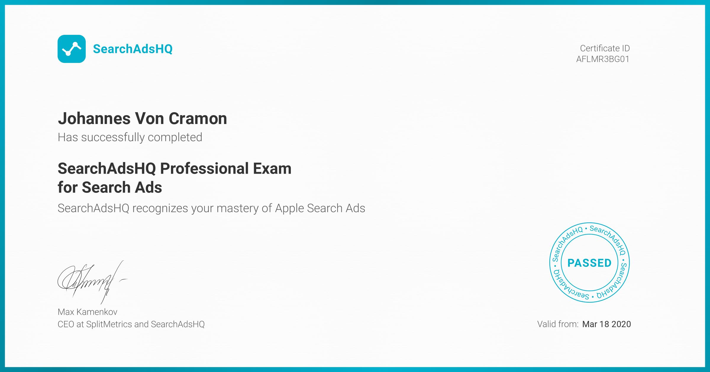 Certificate for Johannes Von Cramon | SearchAdsHQ Professional Exam for Search Ads