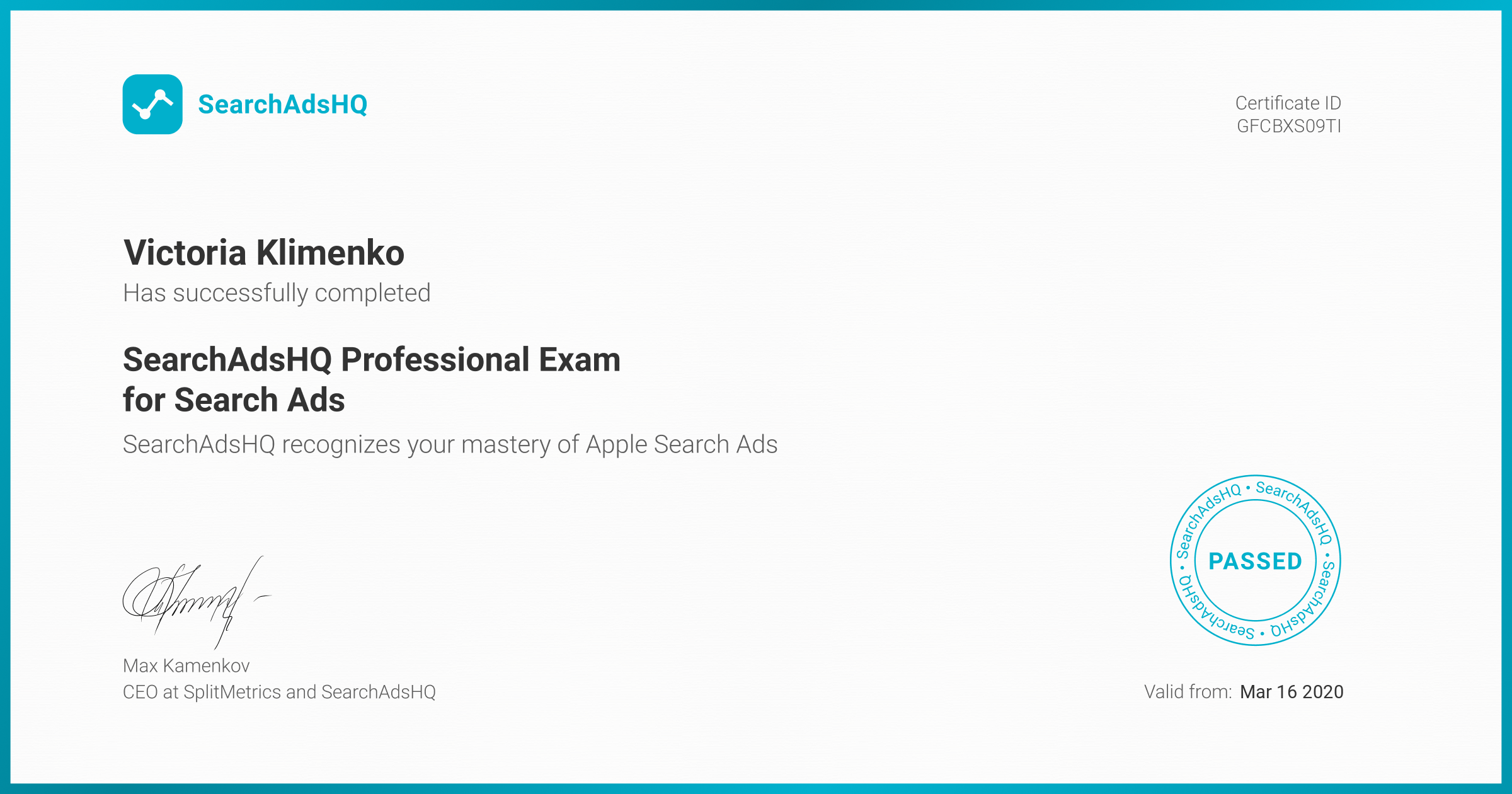 Certificate for Victoria Klimenko | SearchAdsHQ Professional Exam for Search Ads