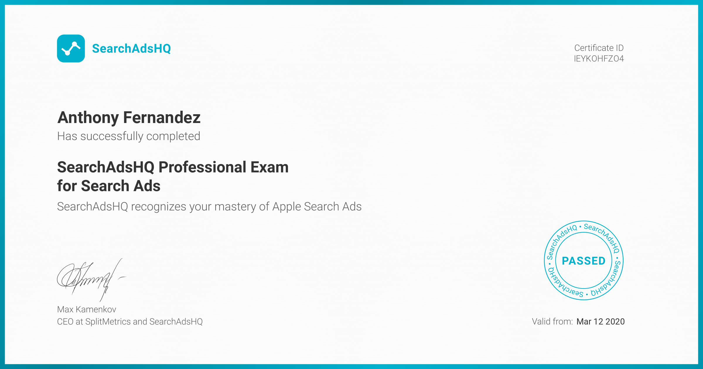 Certificate for Anthony Fernandez | SearchAdsHQ Professional Exam for Search Ads
