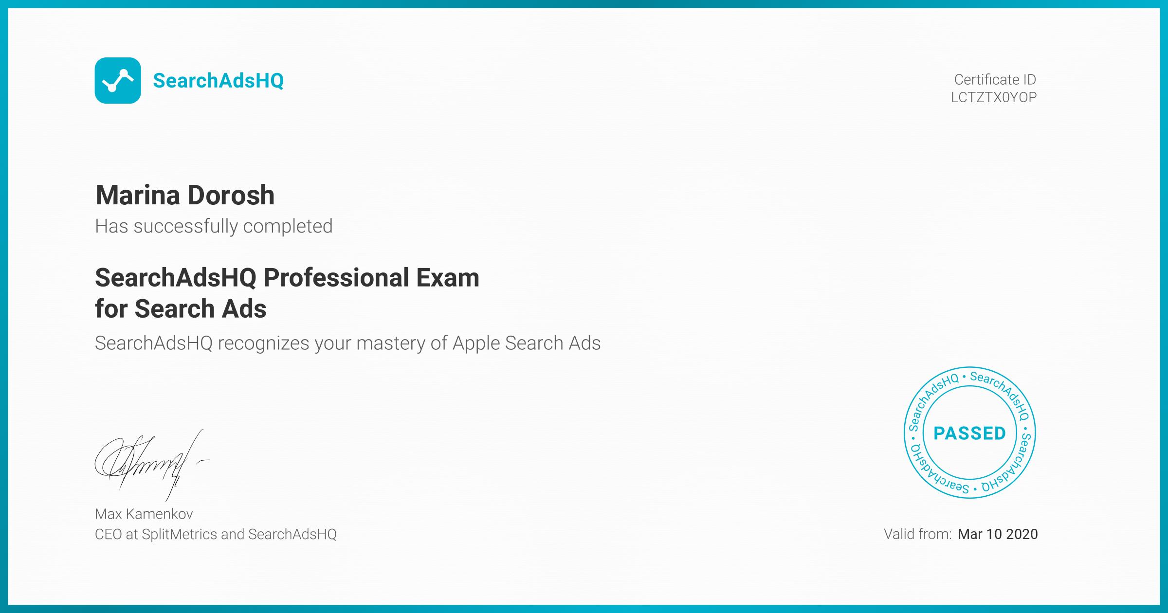 Certificate for Marina Dorosh | SearchAdsHQ Professional Exam for Search Ads