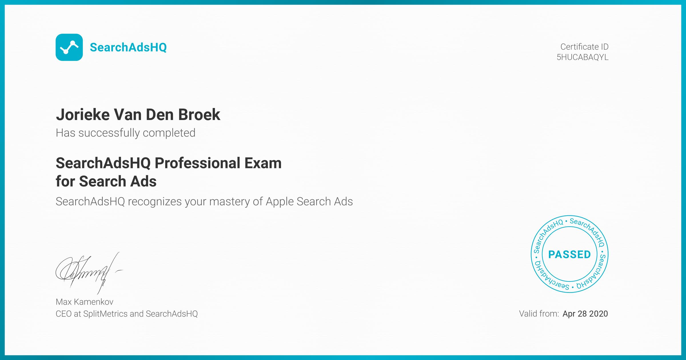 Certificate for Jorieke Van Den Broek | SearchAdsHQ Professional Exam for Search Ads