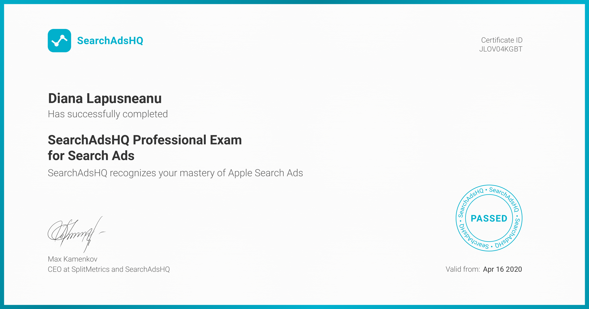 Certificate for Diana Lapusneanu | SearchAdsHQ Professional Exam for Search Ads