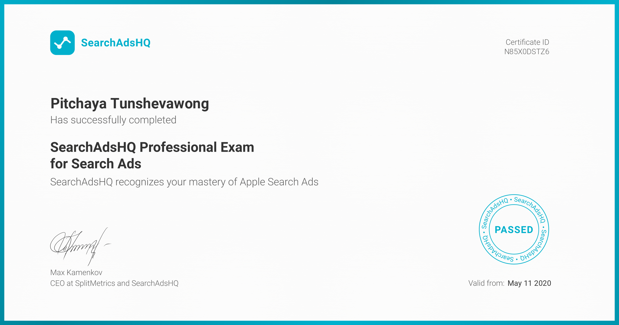 Certificate for Pitchaya Tunshevawong | SearchAdsHQ Professional Exam for Search Ads